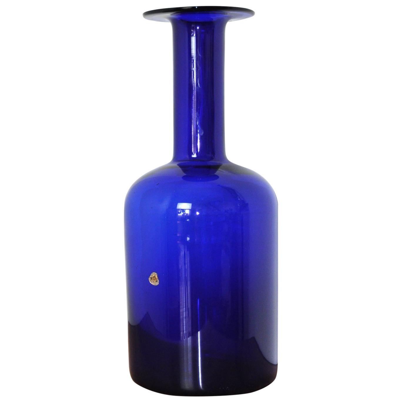 Scandinavian Modern Cobalt Blue Vase by Otto Brauer for Holmegaard Denmark 1960s