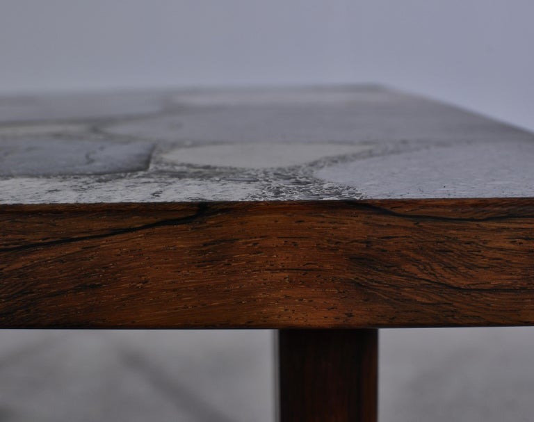 Scandinavian Modern Coffee Table by Erling Viksjö in Rosewood and Terrazzo  For Sale 5
