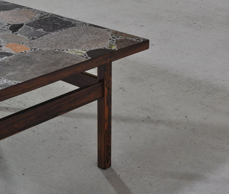 Scandinavian Modern Coffee Table by Erling Viksjö in Rosewood and Terrazzo  For Sale 6