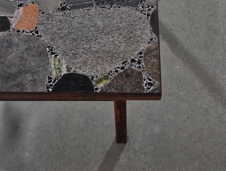 Scandinavian Modern Coffee Table by Erling Viksjö in Rosewood and Terrazzo  For Sale 8