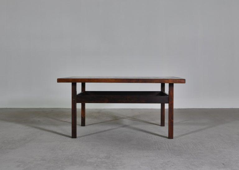 Norwegian Scandinavian Modern Coffee Table by Erling Viksjö in Rosewood and Terrazzo  For Sale