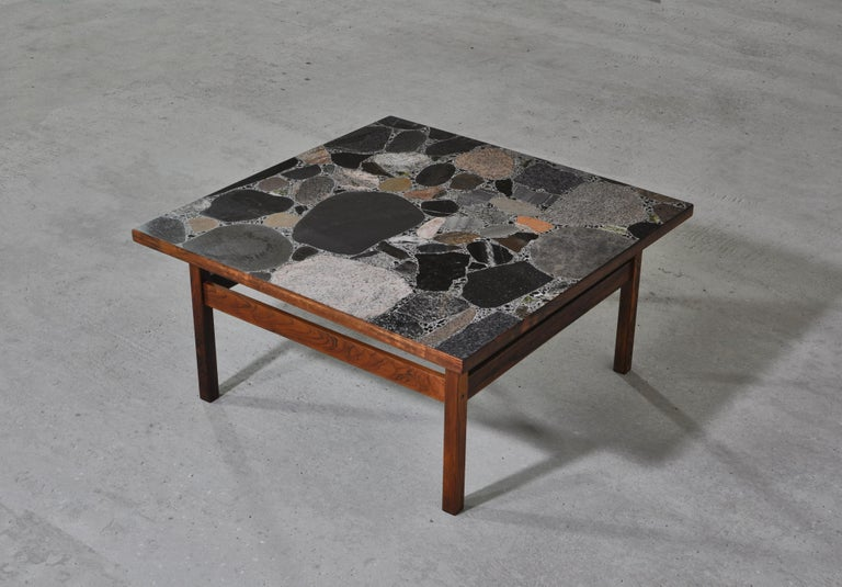Scandinavian Modern Coffee Table by Erling Viksjö in Rosewood and Terrazzo  In Good Condition For Sale In Odense, DK