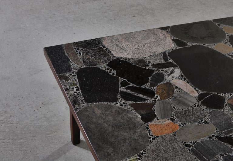 Scandinavian Modern Coffee Table by Erling Viksjö in Rosewood and Terrazzo  For Sale 1