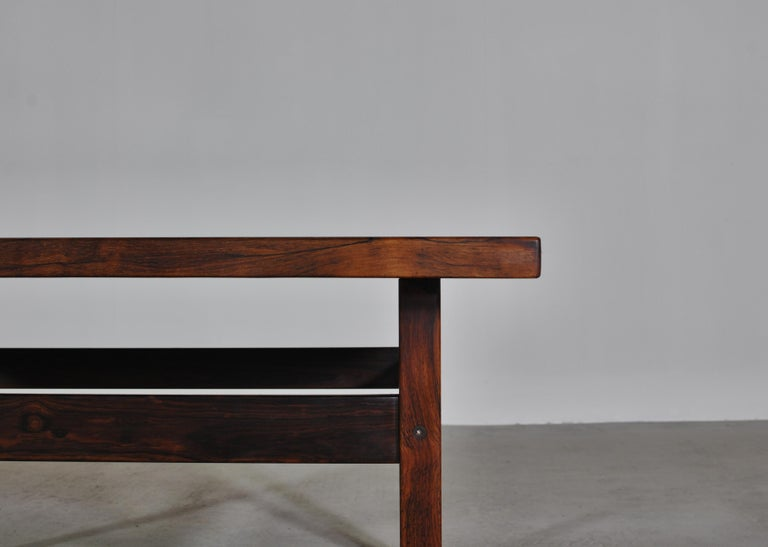 Scandinavian Modern Coffee Table by Erling Viksjö in Rosewood and Terrazzo  For Sale 2