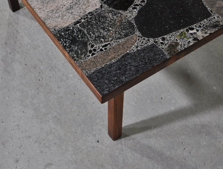 Scandinavian Modern Coffee Table by Erling Viksjö in Rosewood and Terrazzo  For Sale 4
