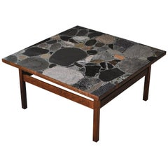 Scandinavian Modern Coffee Table by Erling Viksjö in Rosewood and Terrazzo