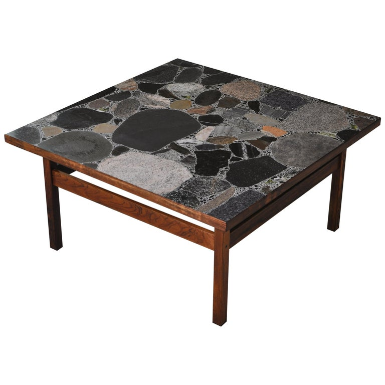 Scandinavian Modern Coffee Table by Erling Viksjö in Rosewood and Terrazzo  For Sale