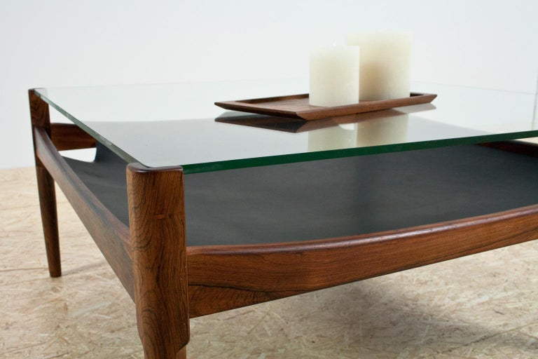 Danish Scandinavian Modern Coffee Table in Rosewood and Glass by Kristian Vedel, 1960s For Sale