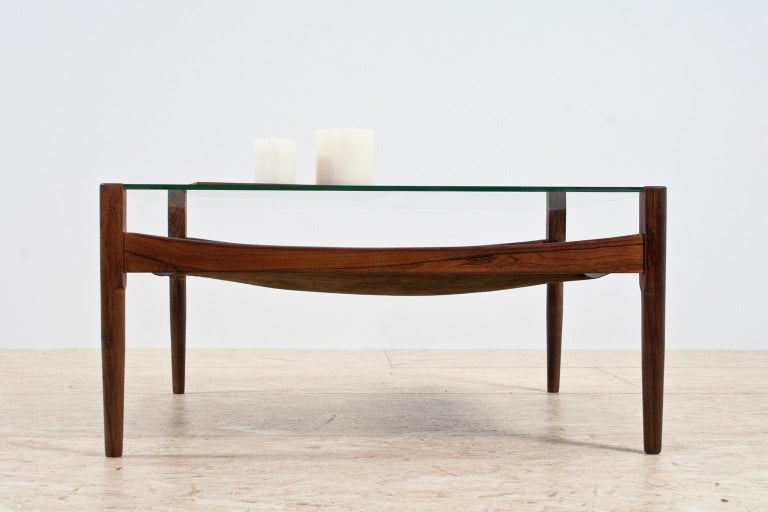 Oiled Scandinavian Modern Coffee Table in Rosewood and Glass by Kristian Vedel, 1960s For Sale