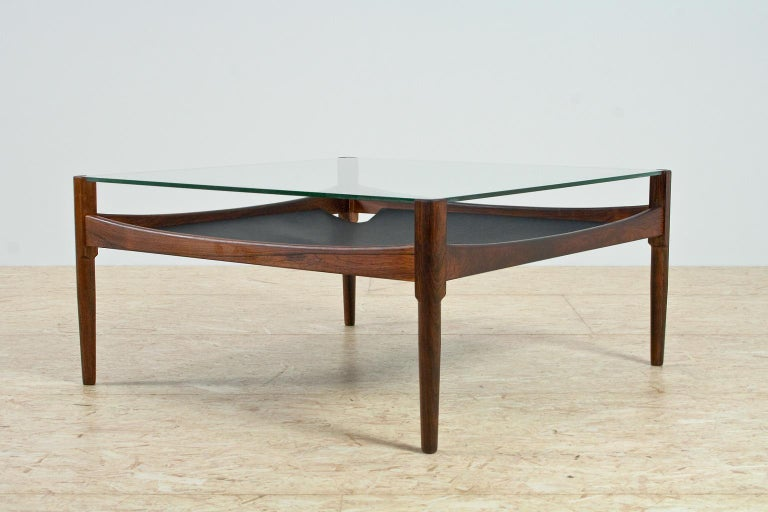 Scandinavian Modern Coffee Table in Rosewood and Glass by Kristian Vedel, 1960s In Good Condition For Sale In Beek en Donk, NL