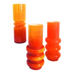 Scandinavian Modern Collection of Orange Hooped Glass Vases by Ryd, Mid-1970s