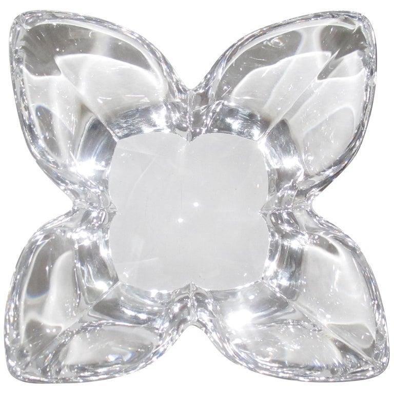Scandinavian Modern Crystal Lotus Bowl by Designer Lars Hellsten For Sale