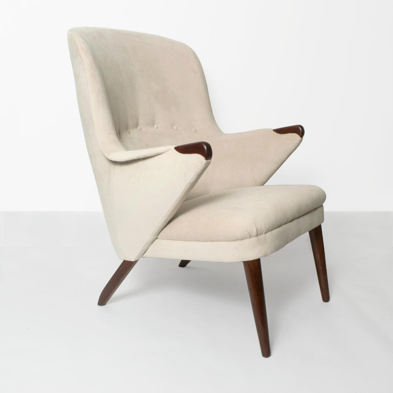 Upholstered Lounge Chair With Teak Legs, High Back Upholstered Chairs With Arms