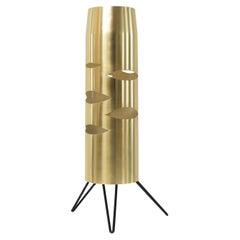 Scandinavian Modern Cylindrical Brass Lamp with Cutouts on a Tripod Base
