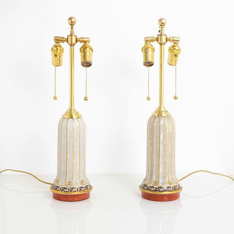 Glazed Scandinavian Modern Dahl-Jensen, Danish Art Deco Porcelain Lamps For Sale