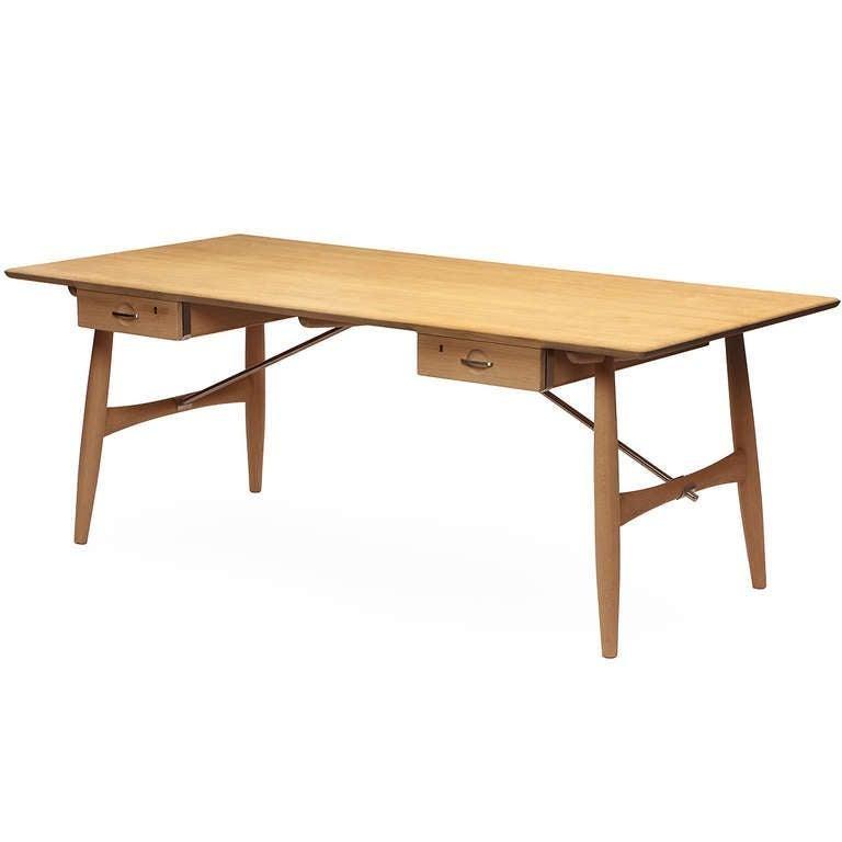 Oiled Scandinavian Modern Danish the 'Architect's Desk by Hans J. Wegner for PP Mobler For Sale