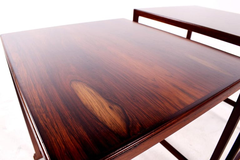 Scandinavian Modern Danish Nesting Tables in Rosewood For Sale 5