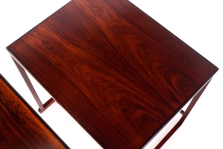 Scandinavian Modern Danish Nesting Tables in Rosewood For Sale 7