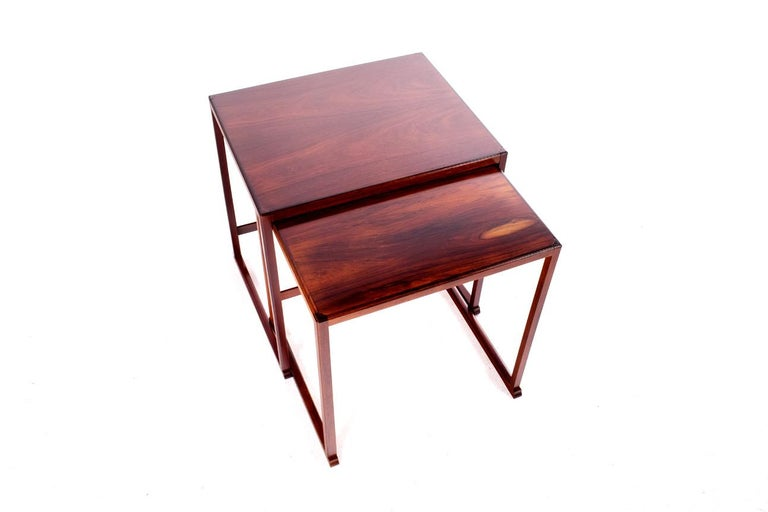 Mid-20th Century Scandinavian Modern Danish Nesting Tables in Rosewood For Sale