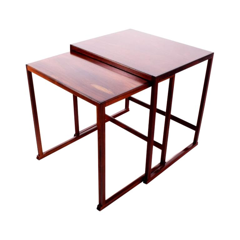 Scandinavian Modern Danish Nesting Tables in Rosewood For Sale