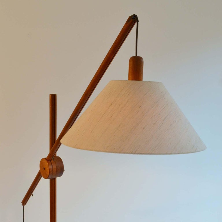 Late 20th Century Scandinavian Modern Danish Teak Counter Balance Floor Lamp with Original Shade For Sale