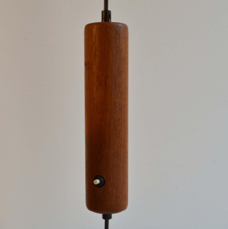 Scandinavian Modern Danish Teak Counter Balance Floor Lamp with Original Shade For Sale 3