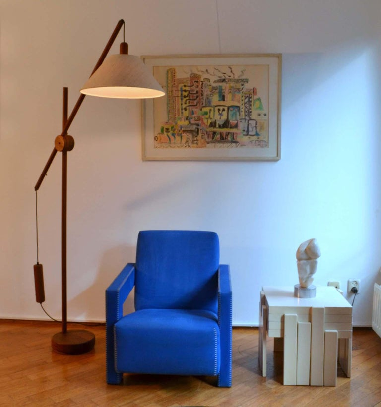 Scandinavian Modern Danish Teak Counter Balance Floor Lamp with Original Shade For Sale 4