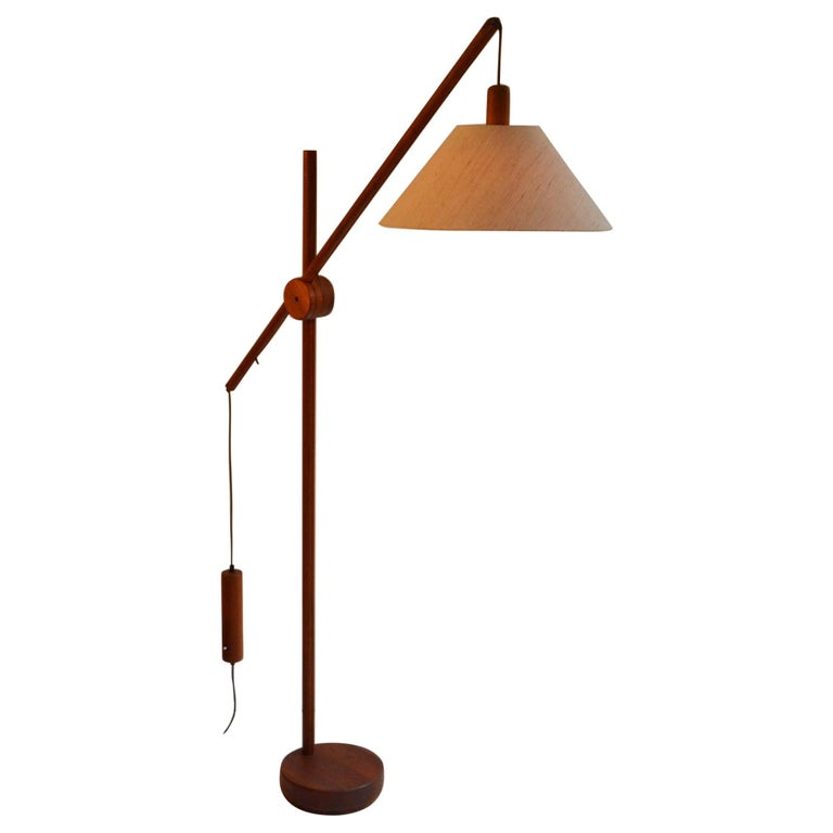 Scandinavian Modern Danish Teak Counter Balance Floor Lamp with Original Shade For Sale