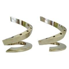 Scandinavian Modern Dansk Designs Silverplate Spiral Candleholders by B. Vallien