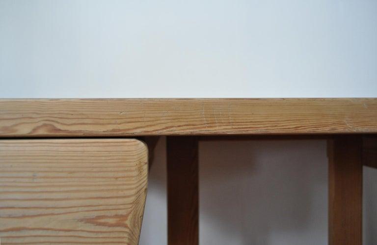Scandinavian Modern Desk in Solid Pine, 1970s For Sale 8