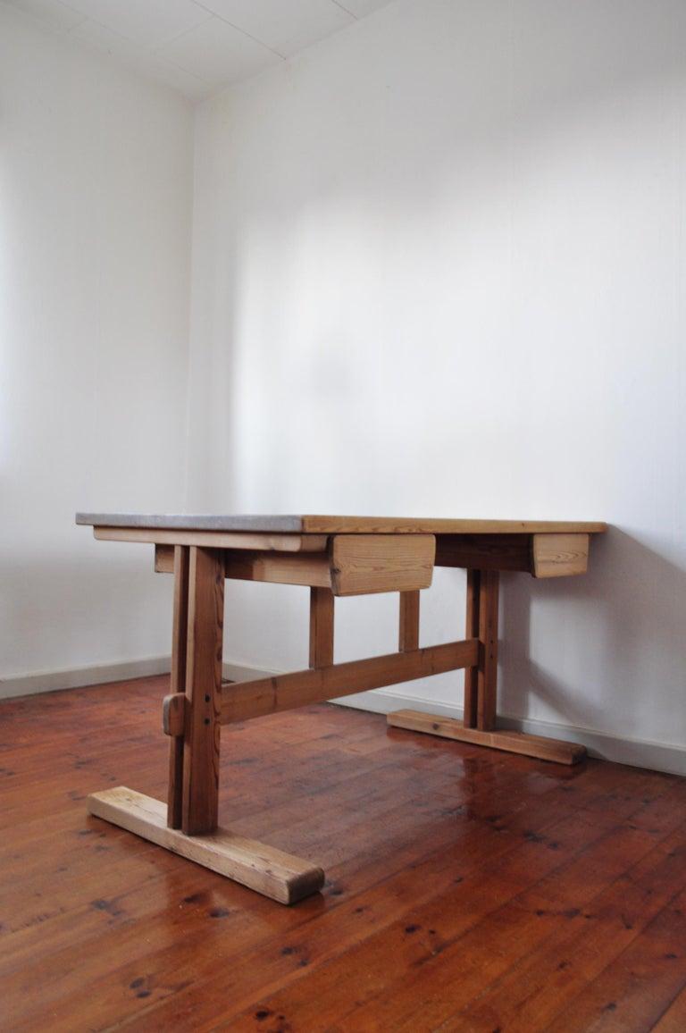 Scandinavian Modern Desk in Solid Pine, 1970s For Sale 9