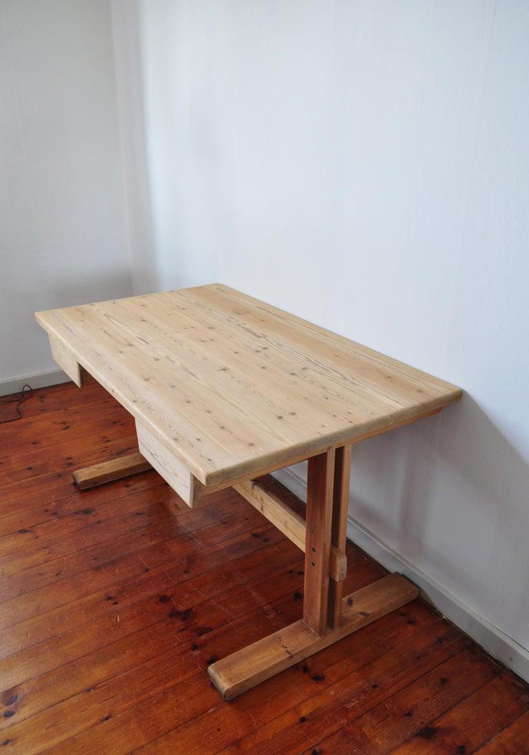 Danish Scandinavian Modern Desk in Solid Pine, 1970s For Sale