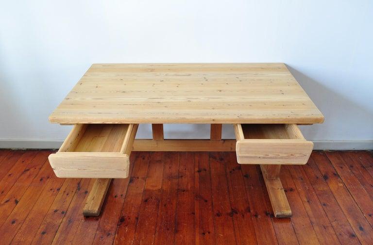 Scandinavian Modern Desk in Solid Pine, 1970s For Sale 4