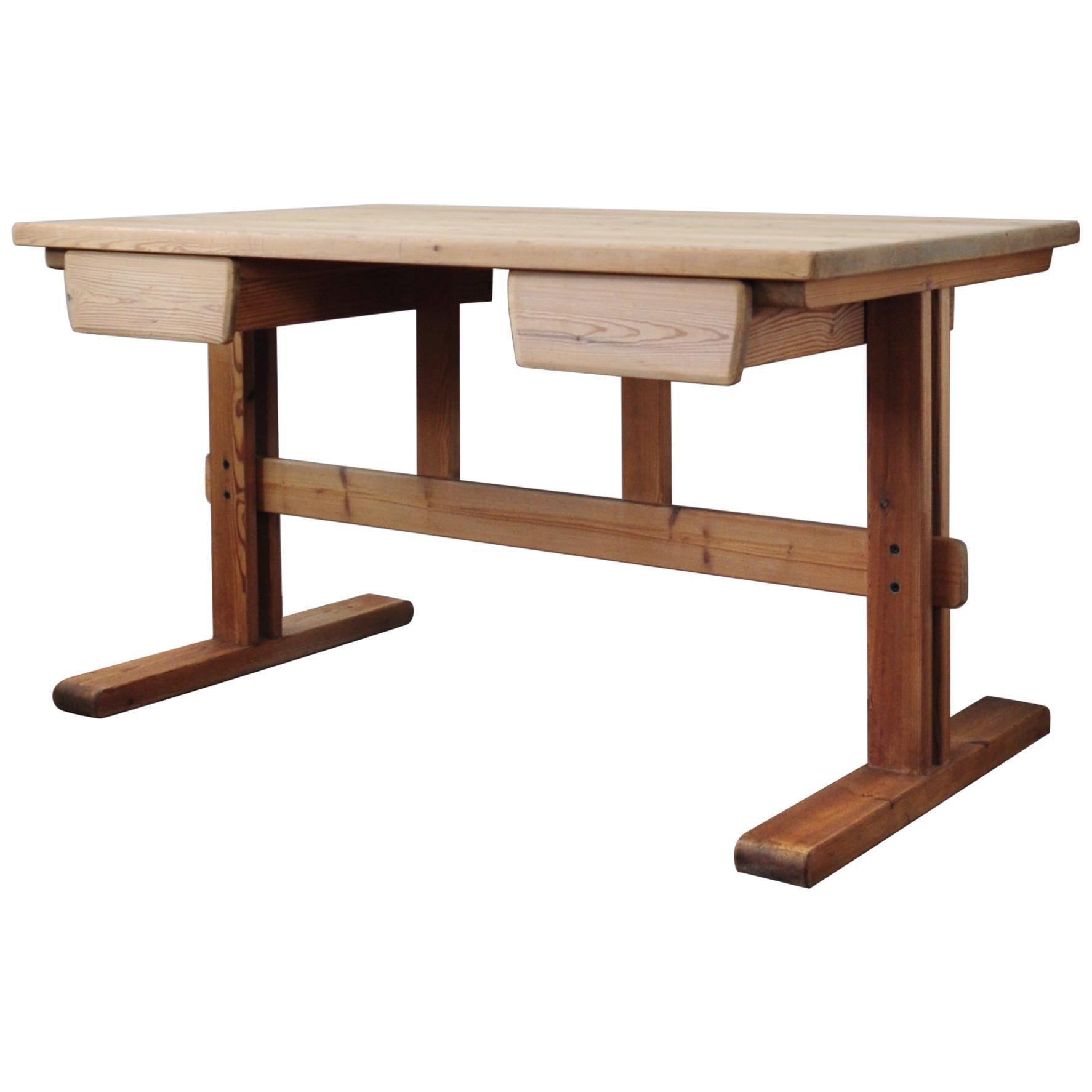 Scandinavian Modern Desk in Solid Pine, 1970s