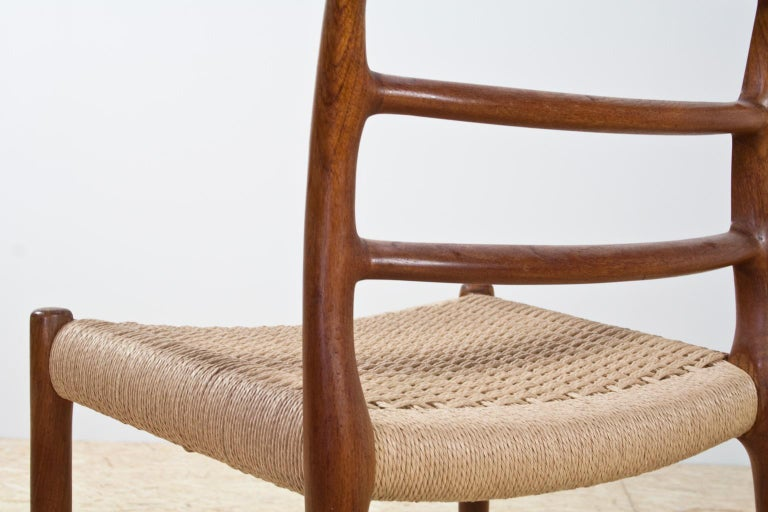 Danish Scandinavian Modern Dining Chair in Teak and Paper Cord by Niels Moller, 1954 For Sale