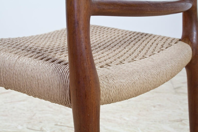 Oiled Scandinavian Modern Dining Chair in Teak and Paper Cord by Niels Moller, 1954 For Sale