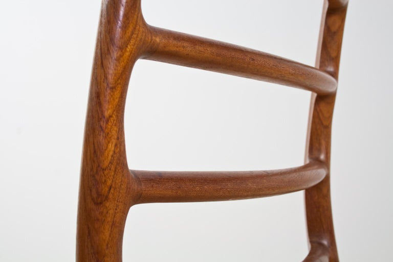 Scandinavian Modern Dining Chair in Teak and Paper Cord by Niels Moller, 1954 For Sale 3