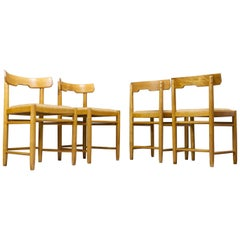 Scandinavian Modern Dining Chairs in Beech and Tan Leather, 1960s Set of 4
