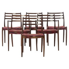 Scandinavian Modern Dining Chairs No. 78 in Rosewood by Niels Otto Moller Set of