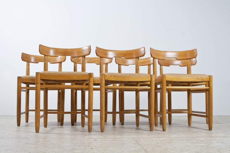 beech dining room furniture | Scandinavian Modern Dining Room Chairs in Beech and Tan ...