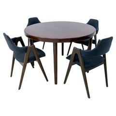 Scandinavian Modern Dining Set of Rosewood Folding Table & Kai Kristianen Chairs