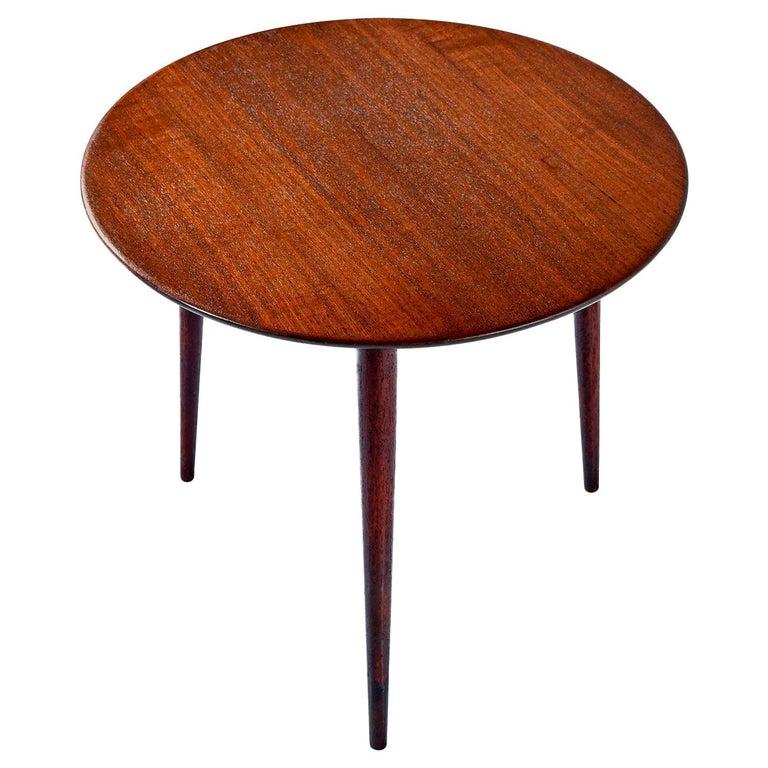 Scandinavian Modern Early Danish Solid Teak 3-Leg End Table For Sale