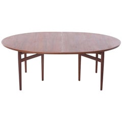Scandinavian Modern Ellipse Shaped Teak Dining Table by Arne Vodder