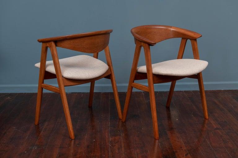 Upholstery Scandinavian Modern Erik Kirkegaard Teak Dining Chairs, Model 57 For Sale