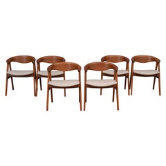 Scandinavian Modern Erik Kirkegaard Teak Dining Chairs, Model 57