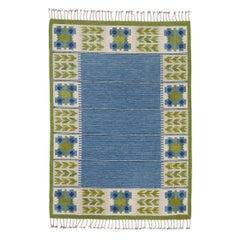 Scandinavian Modern Flat-Weave in Blue and Green by Berit Woelfer 'Koenig'