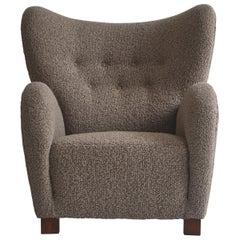 Scandinavian Modern Flemming Lassen Boucle Easy Chair, 1940s, Denmark