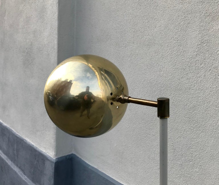 Scandinavian Modern Floor Lamp with Brass Shade, 1970s In Good Condition For Sale In Esbjerg, DK