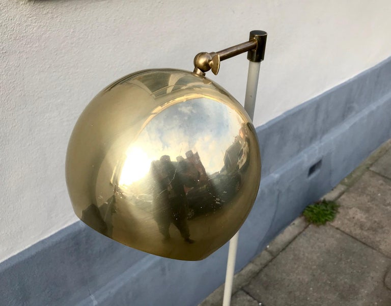 Late 20th Century Scandinavian Modern Floor Lamp with Brass Shade, 1970s For Sale