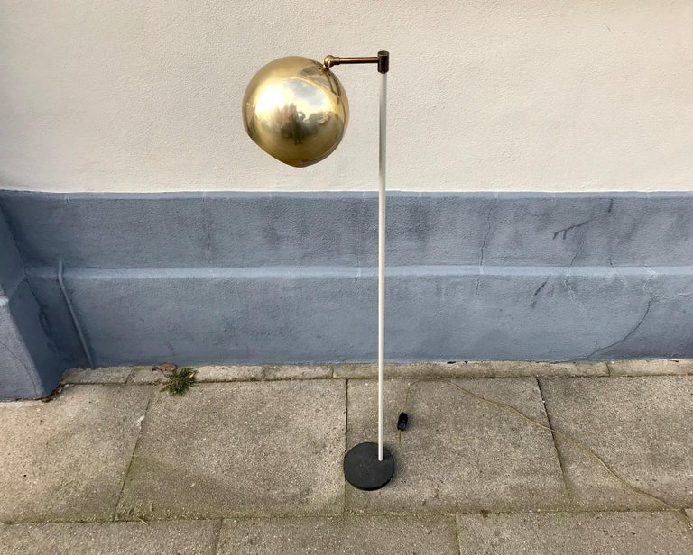 Scandinavian Modern Floor Lamp with Brass Shade, 1970s For Sale 1